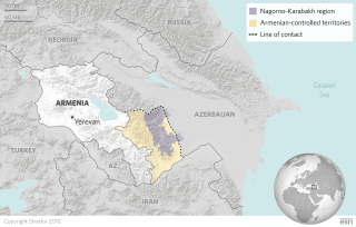 A map shows the disputed Nagorno-Karbakh region between Armenia and Azerbaijan.