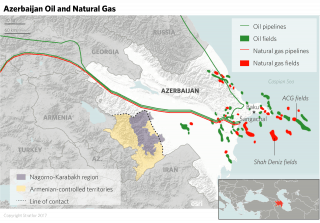 Azerbaijan is another focal point of the U.S. containment strategy, largely because of the country's sizable energy resources and strategic location in the Southern Corridor energy route.