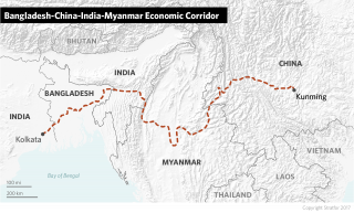 The route of the Bangladesh-China-India-Myanmar Economic Corridor, part of China's Belt and Road Initiative