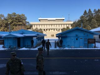 A view of the North Korean Panmungak building from the South Korean side of the Joint Security Area.