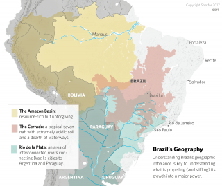 A map showing Brazil's three main geographical regions.
