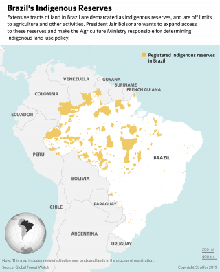 A map showing Brazil's indigenous reserves.