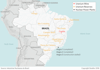 A map showing the location of Brazil's uranium reserves.