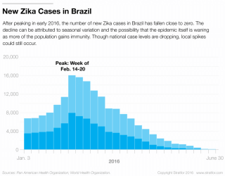 Brazil is not the only country in the region to see a decline in Zika cases in recent months. In fact, Colombia declared its own Zika outbreak over in July. But new occurrences of the disease are still increasing in the Northern Hemisphere, where summer is mosquito season.