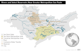 A map of the rivers and reservoirs near greater metropolitan Sao Paulo.