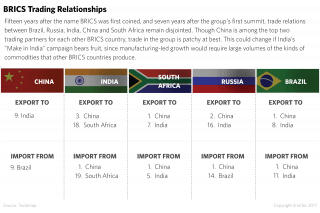 15 years after the name BRICS was coined, and seven years after the group's first summit, trade relations among Brazil, Russia, India, China and South Africa remain disjointed.