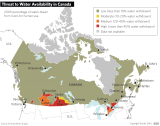 The prairie provinces of Alberta, Manitoba and Saskatchewan are typically more arid than other parts of the country. An expansion of agricultural and industrial activity in the region, along with population increases in recent decades, has led to greater water stress in parts of these provinces.