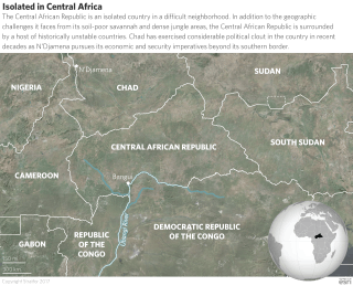 The Central African Republic's lack of fertile soil has limited population growth and given rise to highly dispersed rural villages that are difficult for the central government to control. Many of its outlying regions are hardly connected to Bangui at all, sharing more infrastructure with neighboring countries.