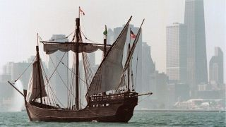 A picture of the Nina -- a 72-foot, three-masted replica of a 15th century caravel ship -- sailing into Chicago's Navy Pier