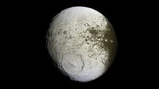 Cassini caught a high-resolution glimpse of the two hemispheres of Saturn's moon Iapetus on Sept. 10, 2017.