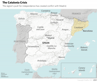 A map showing Spanish regions.