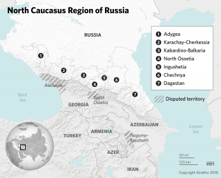 A map shows the North Caucasus republics in Russia.