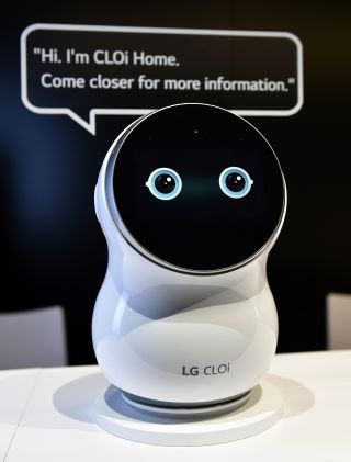 An LG CLOi robot is displayed at the company's booth at CES 2019 at the Las Vegas Convention Center on Jan. 8.