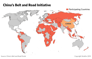 This map shows the countries that are participating in the Belt and Road Initiative.