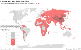 This map shows countries with at least some participation in China's Belt and Road Initiative