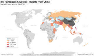 This map show trade flows in 2018 from China to countries participating in the Belt and Road Initiative