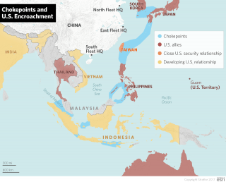 A map showing chokepoints in the South China Sea and where the U.S. could encroach.