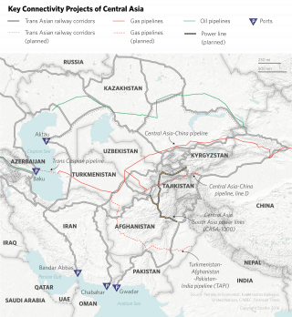 China's planned initiatives in Central Asia range from electricity infrastructure to industrial zones. But pipeline and transportation projects form the backbone of its connectivity campaign in the region. The potential gains notwithstanding, progress on China's rail lines in Central Asia has been halting.