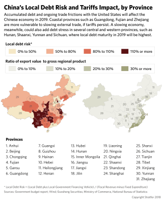 A graphic showing China's local debt risk and tariffs impact, by province