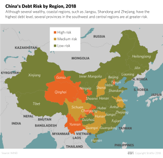 A map of China shows the provinces at greatest risk of local government financial trouble.