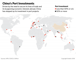 A map showing China's port investments around the world.