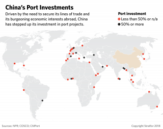 A global map showing China's port investments