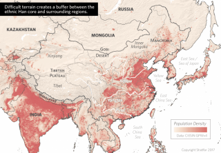Difficult terrain creates a buffer between the ethnic Han core and surrounding regions.