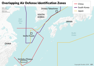 This map shows the overlapping air defense identification zones in the East China Sea and the Sea of Japan.
