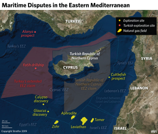 This map shows hydrocarbon resources and exploration efforts in the Eastern Mediterranean