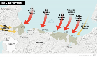 A map showing the D-Day Invasion Beaches.