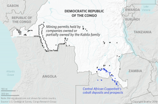 A map showing mining sites in the Democratic Republic of the Congo.