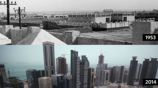 Photos from the Qatari capital of Doha in 1953 (top) and 2014 (bottom) showcase the country's rapid development.