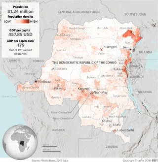 A map showing population density in the Democratic Republic of the Congo.