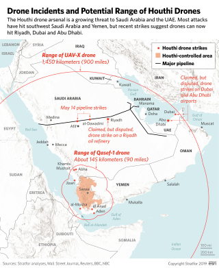 This map shows the range of Houthi drones and attacks attributed to them