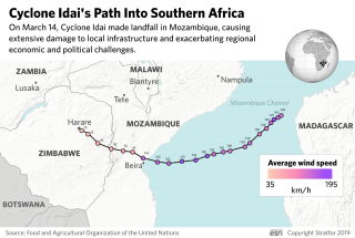 A map shows the path of Cyclone Idai into Southeastern Africa.
