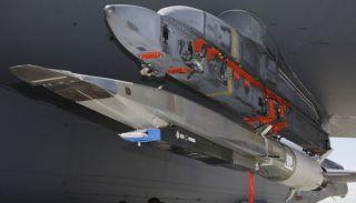 The X-51 WaveRider hypersonic flight test vehicle uploaded onto a B-52 bomber.
