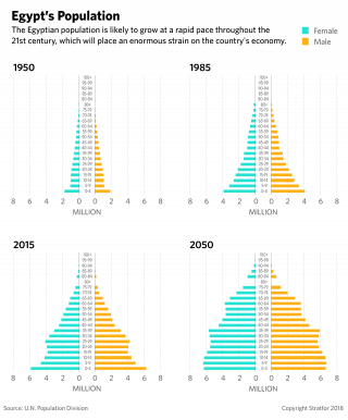 Charts show the breakdown of age groups in Egypt's population since 1950.