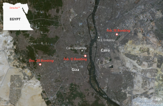 A map of three recent bombings in the Cairo area.