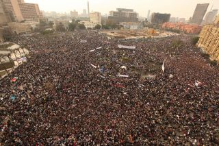 Tens of thousands of protesters gather in Cairo's Tahrir Square on Feb. 1, 2011, demanding Mubarak's ouster.
