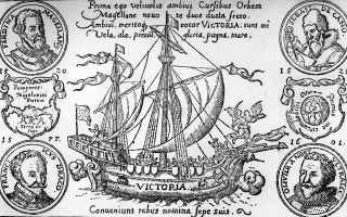 An engraving of the Victoria, the first ship to circumnavigate the globe.