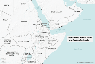 This map shows the location of important ports along the Red Sea and further afield.