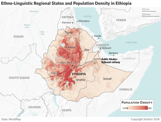 A map shows the population density across Ethiopia.