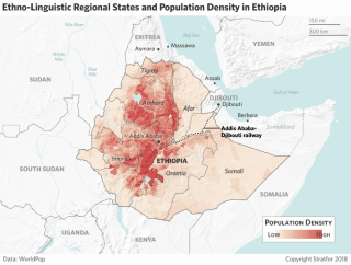 This map shows Ethiopia's population density.