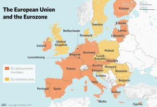 Nineteen of the European Union's 28 members are also members of the eurozone.