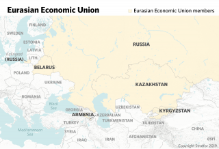 A map showing member countries of the Eurasian Economic Union.