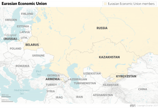 A map showing members of the Eurasian Economic Union