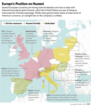 A map showing the positions of various European countries on Huawei.