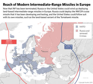 This map shows the possible ranges of intermediate-range missiles on both in Europe and in Russia.