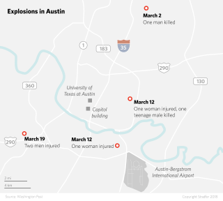 Map of Explosions in Austin, Texas.