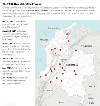 Rebels belonging to the Revolutionary Armed Forces of Colombia will stay in their demobilization zones awaiting commanders' orders to surrender their weapons.